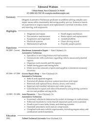 Mechanic Resume Objective Automotive Technician Aircraft Hydraulic