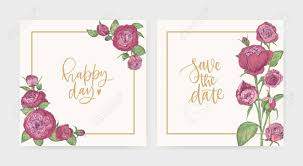 Save The Date Cards Template Set Of Elegant Square Wedding Invitation And Save The Date Card