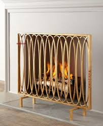 geometric modern oval loops fireplace fire screen flat panel antique gold 40 contemporarymodern