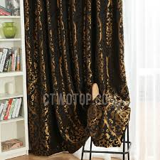 vintage black polyester fabric blackout curtain jacquard with gold cool pattern