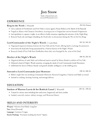 Army Resume I Made Jon Snows Resume Thoughts Resumes