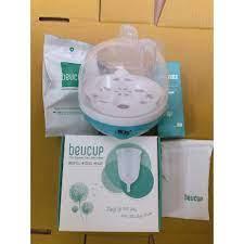Cốc nguyệt san Beucup kèm máy tiệt trùng hơi nước+dung dịch vệ sinh+túi vải  chính hãng 499,000đ