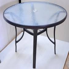 outdoor table with umbrella hole outdoor furniture metal cast aluminum round