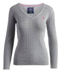 U S Polo Assn Gray Cable Knit V Neck Sweater Women