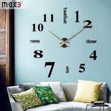 china original brand modern diy large wall clock 3d mirror surface sticker home decor art design new china home decoration mirror clock diy wall sticker