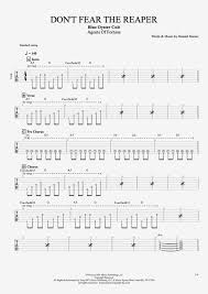 don t fear the reaper sheet music dont fear the reaper by blue oyster cult full score guitar pro