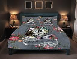 sets pink flower bed 3d skull bedding