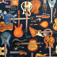 Guitar Music Electric and Acoustic Guitars Music Band Quilt Cotton ... & Guitar Music Electric and Acoustic Guitars Music Band Quilt Cotton Quilting  Fabric RJ16 Adamdwight.com