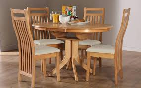round extending oak dining table and 4 6 chairs set within round dining table for 6