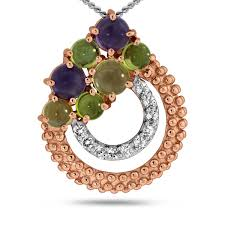 viola round cut amethyst peridot citrine white topaz pendant in sterling silver rose plated samuels jewelers