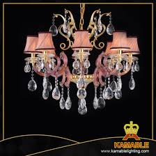 luxury crystal drop with fabric lamp shade chandelier 120688 8l