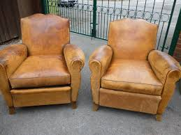 pair of 19th century french tan leather armchairs