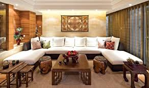 decoration: Ideal Concept Of Superb Asian Living Room With U Shape Sofa And  Affordable Cushion