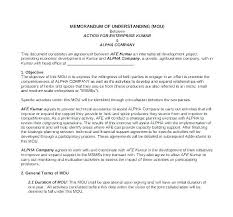 Standard Contract Mou Agreement Format Mou Agreement Template