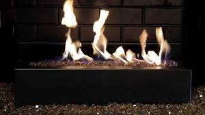 golden blount alpine linear gas fireplace burner with copper alpine flame fire glass burning demo you
