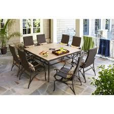 hton bay pembrey 9 piece patio dining set with lumbar pillows hd14216 at the 1 299 00
