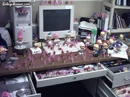 Office desk pranks ideas Birthday Office Desk Full Of Pink Troll Dolls Hubspot Blog 29 Of The Best Office Pranks Practical Jokes To Use At Work