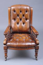 english antique victorian gany and leather library armchair