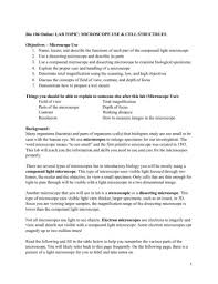 Types Of Microscopes Chart Bio 106 Microscope Lab Handout Su16 Pages 1 12 Text