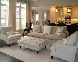 beautiful beige living room grey sofa. Neutral Living Room With Overstuffed Beige Sofa, Linen Armchairs And A Tufted Ottoman Beautiful Grey Sofa N