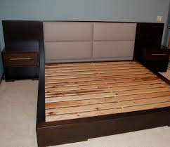 king platform bed frame japanese. Japanese Style King Size Platform Bed Frame With Padded Headboard And Wall Mounted Nightstands