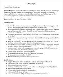 lead housekeeper job description housekeeping job duties