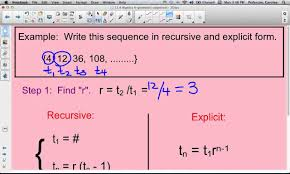 writing a recursive and explicit formula in geometric sequence you