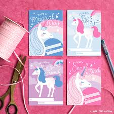 We have a colored printable version and a black and white printable version for kids to color on their. Download A Print A Set Of Enchanting Unicorn Valentines