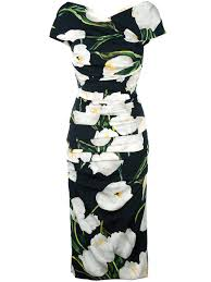 dolce gabbana tulip print midi dress women clothing d g outlet