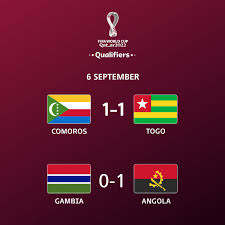 Check spelling or type a new query. Fifa Fussball Wm On Twitter Wcq Endergebnisse Gambia 0 1 Angola Komoren 1 1 Togo Afrika Qualifikation Zum Worldcup 2022