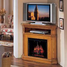 rustic varnished maple wood corner tv stand furnished with media shelf and electric fireplace