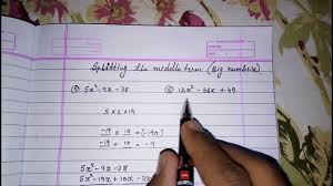 splitting the middle term ll big numbers ll large numbers ll quadratic equation factorisation