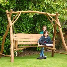 3 seater oak swing rustic garden