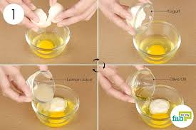 step 1 combine the egg yogurt olive oil and lemon juice in a bowl