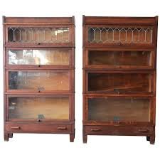 antique bookcase with glass doors hanihaniclub info oak barrister bookcases leaded globe pair for wood dresser