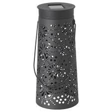 solvinden led solar powered table lamp cone shaped grey ikea