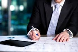 Closeup of business man writing in notebook with pen    K stock footage clip