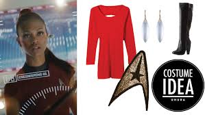 how to make a uhura from star trek costume with just a red dress and boots