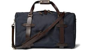 filson leather trimmed twill duffel bag