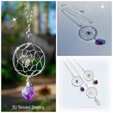 Dream Catcher With Crystals Long Quartz Crystal Dreamcatcher Necklace JG Beads 91