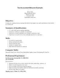 Accounting Skills Resume Tax Accountant Resume Example Jobsxs Com