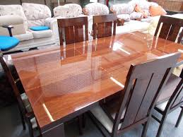 dining table and chairs redwood with shellac finish