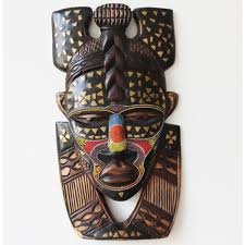 hand carved beaded face wooden african tribal mask