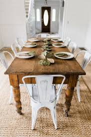 Dining Tables, Excellent White Brown Rectangle Contemporary Wooden Farmhouse  Dining Room Table Stained Design: ...