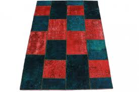 patchwork rug red blue turquoise in 200x140cm