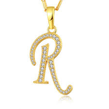 New 2017 NAKELULU silver Plated Necklace Capital Initial R Letter Pendant Necklace Fashion Alphabet Letter Necklace