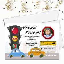 Car Birthday Invitations Personalised Cars Birthday Party Photo Invitations N99