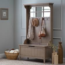 hall tree with storage bench driftwood gray master industrial hanging solid wood upholstered large entryway mirror cabinets corner foyer coat rack metal
