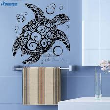 sea turtle with bubble wall stickers ocean sea animal home decor vinyl diy interior adhesive wall decal bathroom art mural y08 wall stickers wall stickers