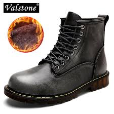 valstone quality leather martin boots men winter 2018 high top cargo shoes warm vintage stylish sneakers plus size 47 gray color wedge shoes boots